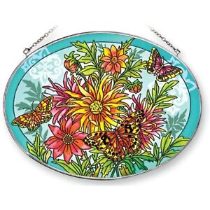 """Amia Suncatcher Featuring a Butterfly Design Hand Painted Glass 9"""" x 6.5"""""""