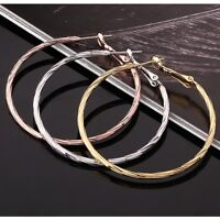 18K White /Rose GOLD Filled Big Hoop Ladies Dangle Hoop Stud Earrings Stunning
