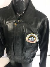 BLACK Leather A-2 FLIGHT Jacket KOREAN VETERAN Military Patch Motorcycle Coat S