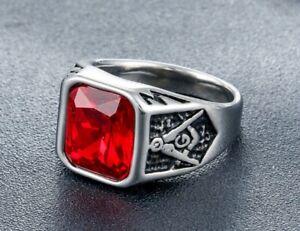 Men Punk Red CZ Stone Masonic Silver Titanium Stainless Steel Ring 8-12