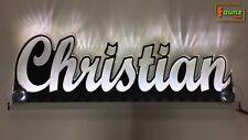 "LED LKW Leuchtschild Truckerschild Namensschild ""Christian"" Name 12/24V weiß"