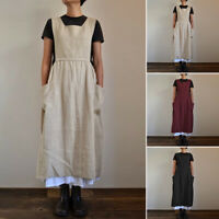 UK Womens Summer Sleeveless Strappy Pocket Casual Baggy Pinafore Dungaree Dress
