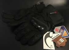 Gearx Waterproof Leather Motorbike Gloves Knuckle Protect Size M Black BNWT