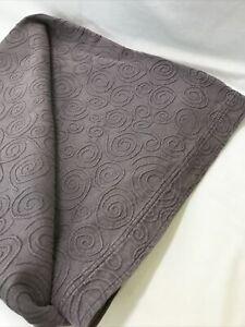 Vtg King Matelasse Bedspread Quilt Muted Purple Gray Swirl Boho Chic Stonewashed