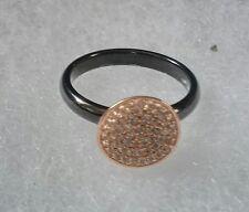 Alberto Moore Ring 7 Rose Gold ❤Black Ceramic Pave ❤