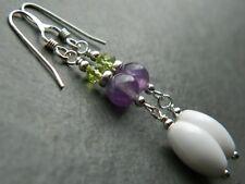 Amethyst & Peridot Gem, Vintage Milk Glass, Silver Earrings, Suffragette Colours