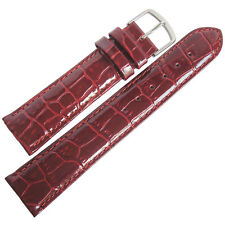 22mm Mens Fluco Burgundy Oxblood German Crocodile-Grain Leather Watch Band Strap