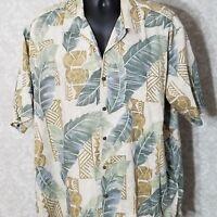 Kona Kai Trading Company Hawaiian Tropical Print Shirt XL Floral Beige Multi
