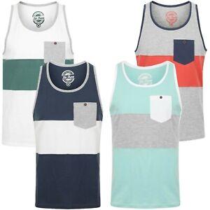 Mens 5th Shore Block Colour Muscle Tank Top Sleeveless Cotton T-Shirt Vest