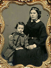 LOVELY 1/9 PLATE AMBROTYPE PHOTO PORTRAIT OF MOTHER AND SON