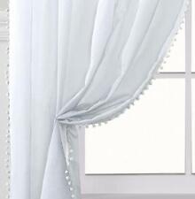 """White POM POM Slot Top Pure Sheer Voile Children Modern Curtain Panels 48"""" 122cm"""