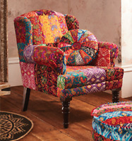 Stunning Multi Patch Colourful Embroidered Comfortable Handmade Armchair