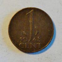 Niederlande / Netherland - 1 Cent 1948, Königin Wilhelmina, 1890-1948 vz / xf