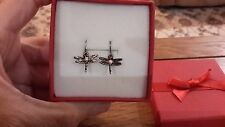 Brand new tiny antique silver look dragonfly earrings and gift box