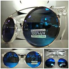 VINTAGE 60's Style Clear Lens CLIP ON SUN GLASSES Round Transparent Silver Frame