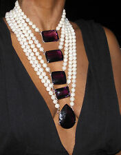 Huge 14k gold 5 row 10+ mm cultured pearl & 750+ct Quartz Amethyst necklace