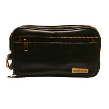 Rowallan - Black Double Zip Soft Cow Hide Leather Buchanan Wash Bag