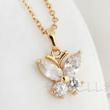 Sweet 18k Gold Filled Butterfly Shape Crystal Lady Shiny Jewelry Necklace