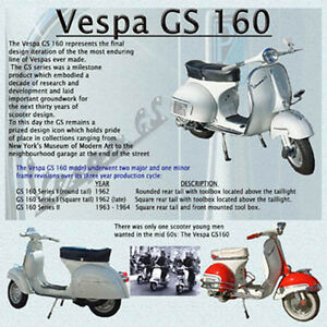 VESPA GS 160 SCOOTER DRINKS COASTER TOP GIFT 1960 MODS