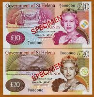 Specimen Set, St. Helena / Africa, 10;20 Pounds, 2004,  P-12s;13s, QEII, UNC