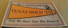 Old Raising Hell In Texas Hold 'Em Poker Poster Flag Man Drinking Sign Repo