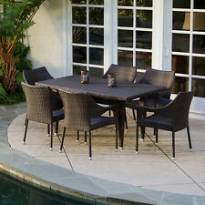 (7-Piece) Outdoor Patio Furniture Elegant Brown All-weather Wicker Dining Set