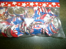 """Mini Buttons - 48 Patriotic Smile Face 1"""" pins - Great prize or Giveaway"""