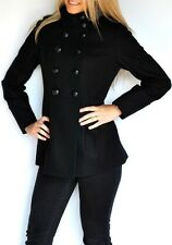 New Womens Miss Sixty Wool Military Style Coat Peacoat Black Jacket Large