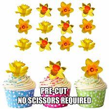 precortado flores amarillo Narcisos 12 Toppers Comestibles Cupcake SEMANA SANTA