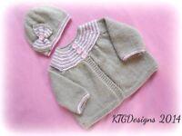 DK baby knitting pattern to knit modern girls matinee hat cardigan set phoebe