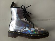 DOC DR MARTENS HOLOGRAPHIC METALLIC SILVER BOOT MADE IN ENGLAND RARE VINTAGE 6UK