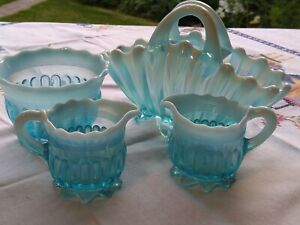 Turquoise milk glass basket ,milk jugs and sugar bowl