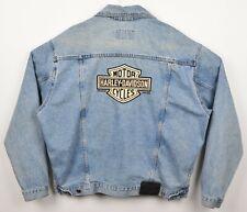 Vtg 90s Harley-Davidson Men's Sz Large Denim Bar Shield Biker Trucker Jacket