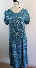 Women's Orvis Blue Teal Floral Long Dress Sz Large ORVIS Floral Dress