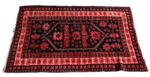 Caucasian Wool Rug, circa 1920. Pink and Dark Blue/Back Floral Geometric Designs