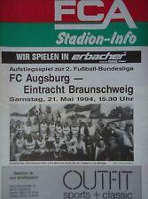 Programm AR 2. BL 21.5.1994 FC Augsburg - Eintracht Braunschweig