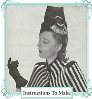 Vintage sewing pattern-unusual 1940s fez style hat-full size paper pieces