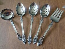 5 Oneida Stainless Steel Cube Rembrandt Serving Pieces Spoon Fork Ladle Flatware