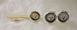 Pittsburgh Steelers Cufflinks & Tie Clip made from Football Cards, Gift for Men