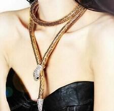 Betsey Johnson Jewelry Golden Chain Snake Women Rhinestone Gifts Long Necklace
