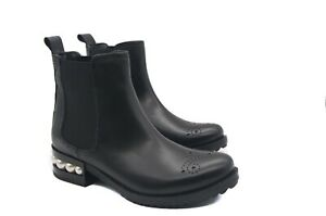 LucyToni  Leather Chelsea Boots Black Ankle Pull on with Low Pearl Droplet Heel