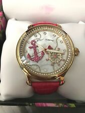 NWT Rare Large Betsey Johnson pink leather Anchor Nautical Crystal Gold Watch