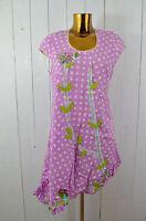 TAI Kleid Sommerkleid Baumwolle Pink Weiß Punkte Stickereien Asymmetrisch Gr.M/L