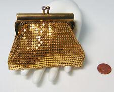 GOLD Metal Mesh COIN PURSE HAND BAG Rhinestone Kiss Lock Chain Link West Germany