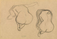 Gustav Klimt Drawings: Two Studies, Seated Nudes with Long Hair - Fine Art Print