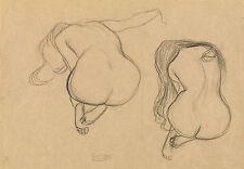 Gustav Klimt Drawings: Two Studies, Seated Nudes with Long Hair - Fine Art Print