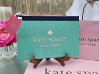 """NEW KATE SPADE OVERSIZED CLUTCH  LARGE ZIP STRAW POUCH LEATHER BLUE """"AQUA BLOOM"""""""