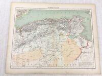 1898 Französisch Map Of Algerien Tunesien North Africa Libyen 19th Century Antik