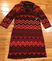 NWT Womens PERCEPTIONS NEW YORK Red Orange Cowl Neck Light Sweater Dress Large L