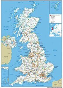A3 United Kingdom UK Road Wall Map Poster 29.7 x 42 cms  Laminated